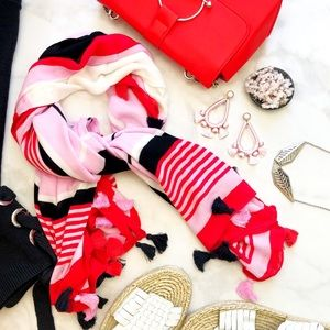 Large Navy, Red, and Pink Striped Tassel Scarf